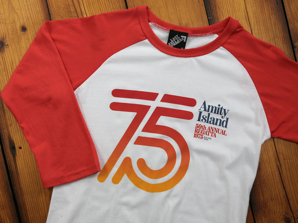 AMITY ISLAND REGATTA 1975 - JAWS INSPIRED BASEBALL SHIRT AND T-SHIRTS