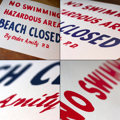 'No Swimming BEACH CLOSED' screenprint