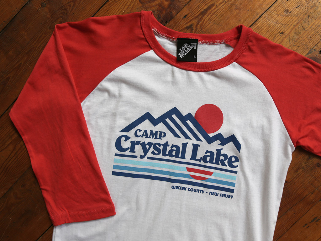 CAMP CRYSTAL LAKE BASEBALL SHIRT INSPIRED BY FRIDAY THE 13TH
