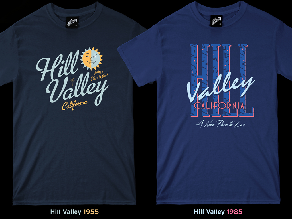 HILL VALLEY 1955 AND 1988 T-SHIRTS - INSPIRED BY BACK TO THE FUTURE