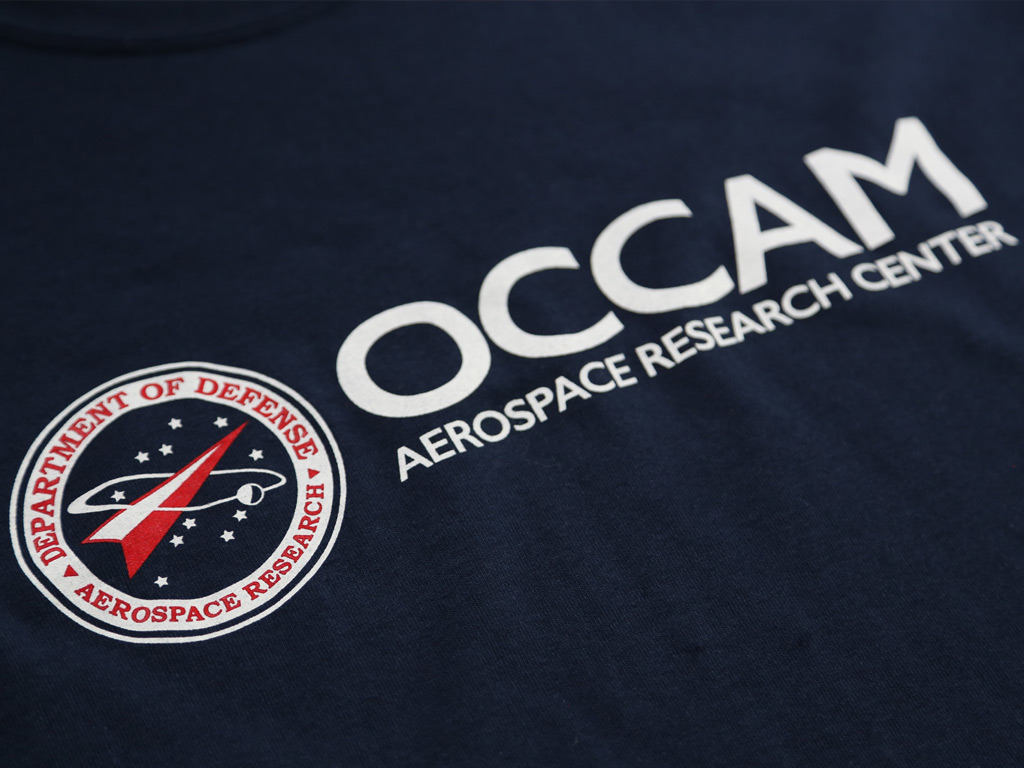 OCCAM AEROSPACE RESEARCH CENTER - THE SHAPE OF WATER INSPIRED T-SHIRT