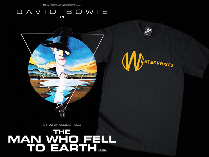 An official homage T-shirt for The Man Who Fell to Earth