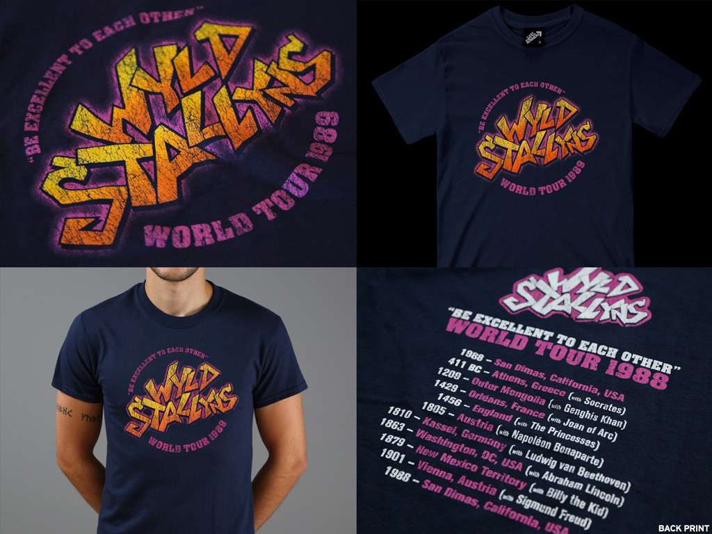 WYLD STALLYNS TOUR T-SHIRT - INSPIRED BY BILL AND TED'S EXCELLENT ADVENTURE