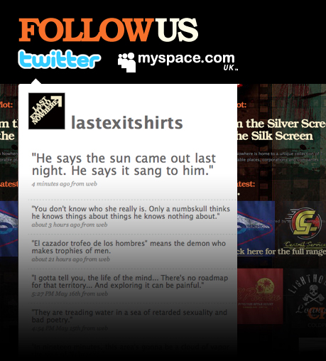 Follow us on Myspace and Twitter