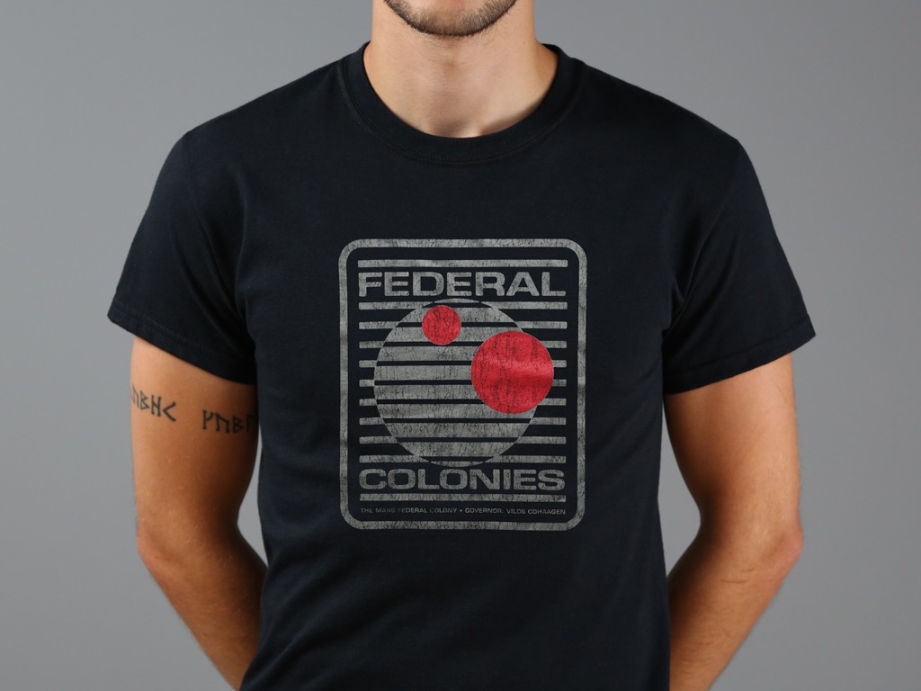 FEDERAL COLONIES MENS T SHIRT TEE TOTAL ARNOLD RECALL RETRO COOL