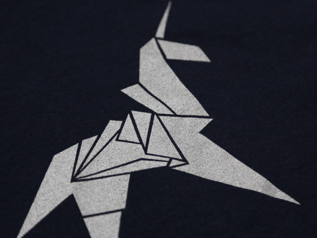 Origami Unicorn Silver Print Regular T Shirt Last Exit To Nowhere