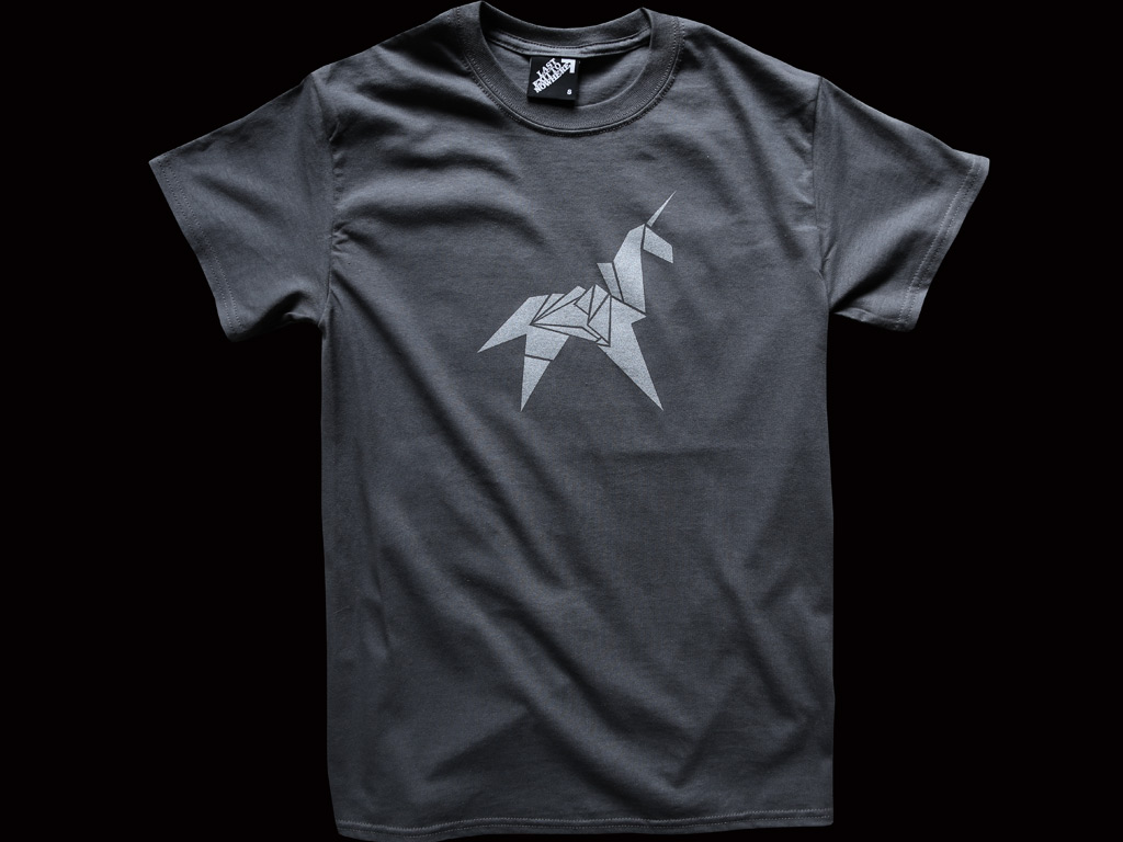 Origami unicorn silver print regular t shirt last exit to nowhere enlarge jeuxipadfo Gallery