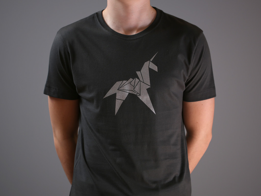 Origami unicorn silver print fitted t shirt last exit to nowhere enlarge jeuxipadfo Gallery