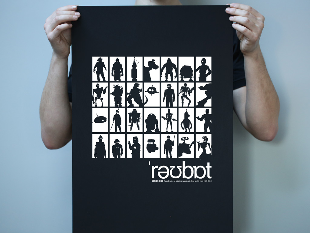 A poster of 28 robots