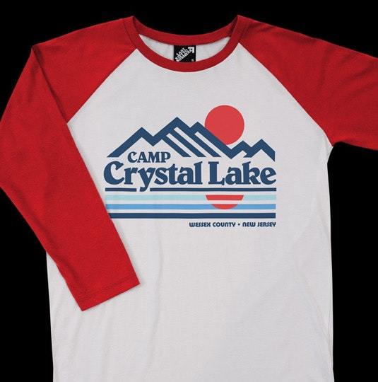 b0737b13 CAMP CRYSTAL LAKE - FRIDAY THE 13TH INSPIRED BASEBALL SHIRT